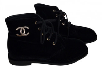 Chanel Black Velvet Ankle boots