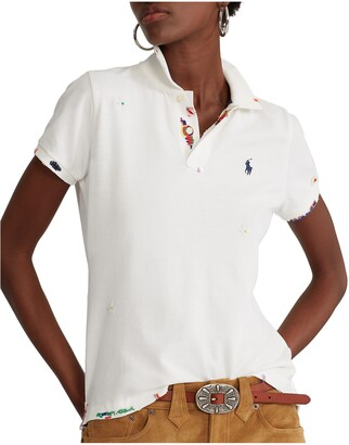 Polo Ralph Lauren Skinny Fit Distressed Mesh Polo