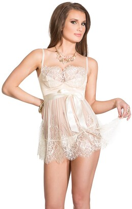 Coquette Women's Padded Lace Babydoll and G-String Set