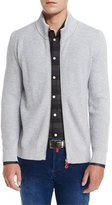 Kiton Ribbed Cashmere Full-Zip Cardigan, Light Gray