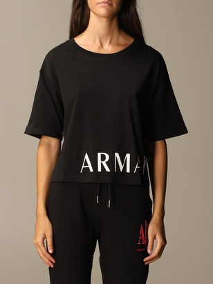 Armani Collezioni Armani Exchange T-shirt Cropped Boxy Logo Half Sleeve Crewneck
