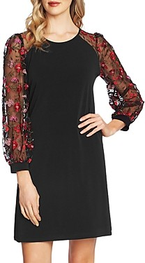 CeCe Rose Embroidered Sheer-Sleeve Dress