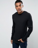 Asos Extreme Muscle Long Sleeve T-shirt In Chunky Rib In Black With Curved Hem
