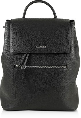 Baldinini Black Eco-Leather Backpack w/Front Zip Pocket