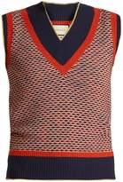 Gucci Sleeveless wave-knit wool-blend sweater