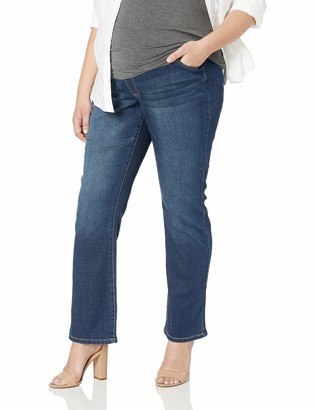 Three Seasons Maternity Women's Maternity Plus Size Bootcut Denim with Neutral Belly Band