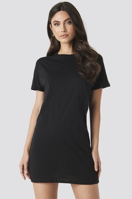 NA-KD Chest Pocket T-shirt Dress Black