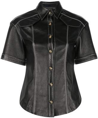 Proenza Schouler Leather Short Sleeve Top