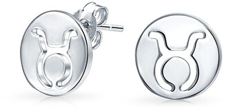 Bling Jewelry .925 Silver Taurus Zodiac Sign Round Disc Stud Earrings