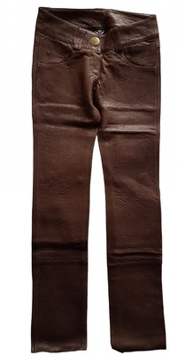 Thomas Wylde Brown Leather Trousers for Women