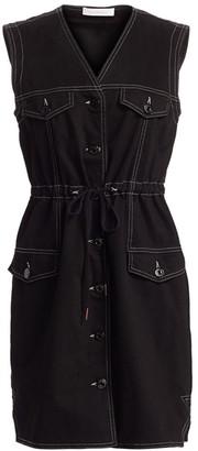 See by Chloe Gabardine Denim Drawstring A-Line Dress
