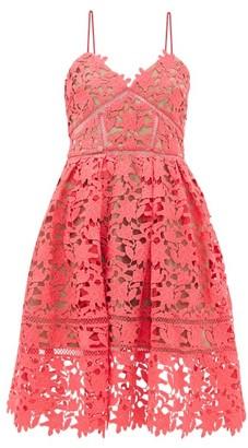 Self-Portrait Azaelea Floral Guipure-lace Dress - Womens - Pink
