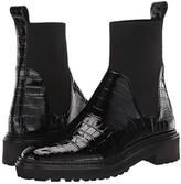 Loeffler Randall Bridget Chelsea Combat Boot (Black Shiny Embossed Croc/Flyknit) Women's Shoes
