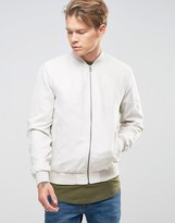 Jack and Jones Originals Faux Suede Bomber Jacket