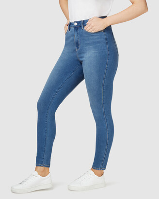 Jeanswest Women's Blue High-Waisted - Freeform 360 Contour Curve Embracer High Waisted Skinny 7-8 Jeans True Blue - Size One Size, 14 Regular at The