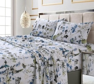 Amalfi by Rangoni Printed 300 Tc Cotton Sateen Extra Deep Pocket Queen Sheet Set Bedding
