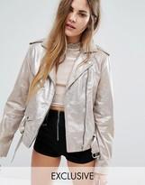Reclaimed Vintage Sparkle Leather Biker Jacket