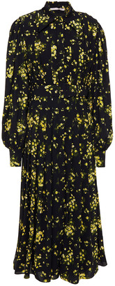 Emilia Wickstead Anatola Belted Floral-print Textured-georgette Midi Dress