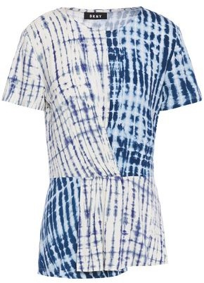 DKNY Wrap-effect Tie-dyed Jersey T-shirt