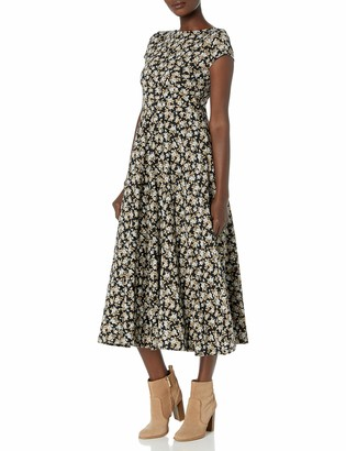 Chaps Women's Plus Size Short Sleeve Floral Fit and Flare Lightweight Cotton Dress