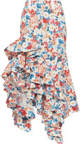 J.W.Anderson Floral-Print Ruffled Cotton Skirt