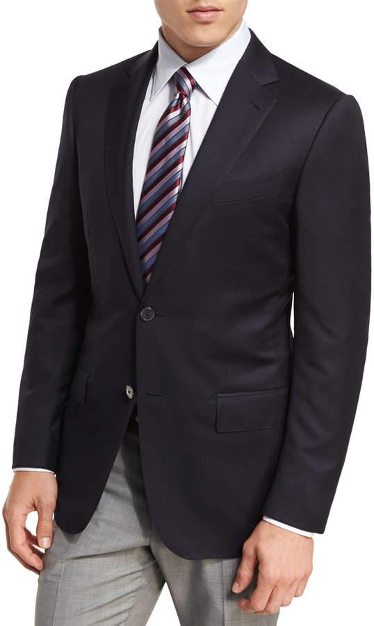Ermenegildo Zegna Milano Micronsphere Wool Two-Button Sport Coat, Navy