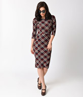 Unique Vintage 1960s Style Red Plaid Long Sleeve Mod Wiggle Dress