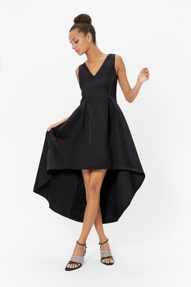 Coast Satin V Neck Dip Hem Dress