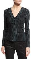 Armani Collezioni Textured Long-Sleeve V-Neck Jacket, Green/Multi