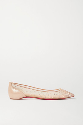 Christian Louboutin Follies Swarovski Crystal-embellished Mesh And Lame Point-toe Flats - Neutral