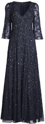 Aidan Mattox Floral Beaded V-Neck Gown