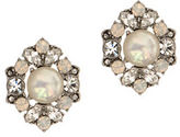 Marchesa Rhodium and Pearl Cluster Silver-plated Button Earrings