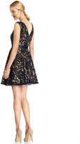 Betsy & Adam Dress, Sleeveless Belted Lace A-Line