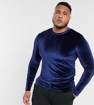 ASOS DESIGN Plus muscle long sleeve velour t-shirt in navy
