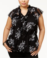 INC International Concepts Plus Size Ruffled Cap-Sleeve Blouse, Only at Macy's