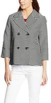 Vero Moda Women's VMCAIA LS BLAZER LOCAL Striped Suit Vest - white -