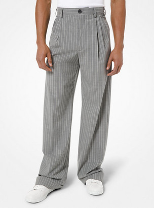 Michael Kors Pinstripe Stretch Wool Pleated Trousers - Banker Grey