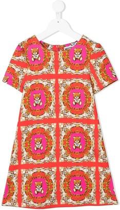 MOSCHINO BAMBINO Geometric Teddy Bear Print Dress
