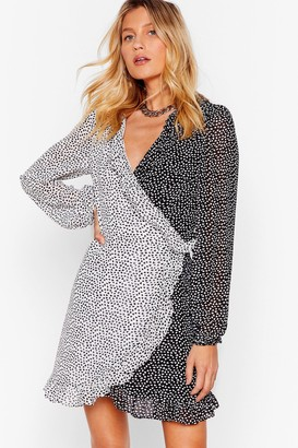 Nasty Gal Womens Mini Wrap Dress with Contrasting Heart Print - Black