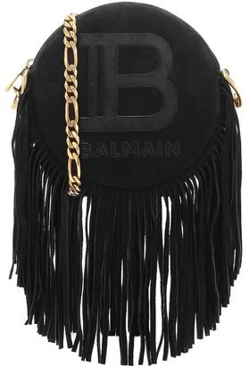 Balmain Disco 18 Small suede crossbody bag
