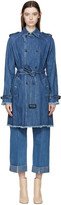 Each X Other Blue Frayed Denim Coat