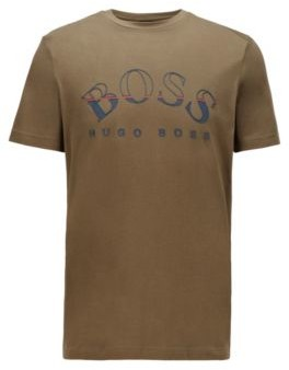HUGO BOSS African Cotton T Shirt With Curved Logo Print - White