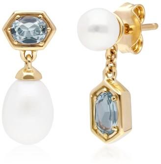 Gemondo Modern Pearl & Blue Topaz Mismatched Drop Earrings