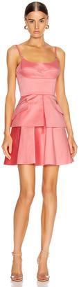 Brandon Maxwell Bustier Peplum Mini Dress in Flamingo | FWRD