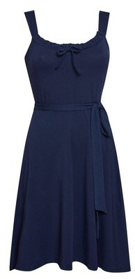 Dorothy Perkins Womens Navy Plain Ruched Fit & Flare Dress
