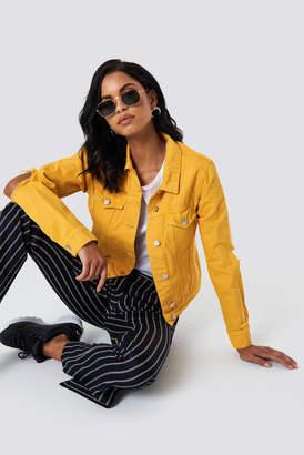 NA-KD Cut Out Sleeve Denim Jacket Yellow