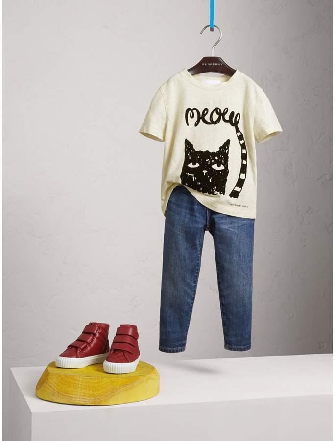 Burberry Meow Print Cotton T-shirt