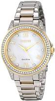 Citizen Drive from Eco-Drive Women's EM0234-59D Two-Tone Watch with Swarovski Crystal-Accented Bezel