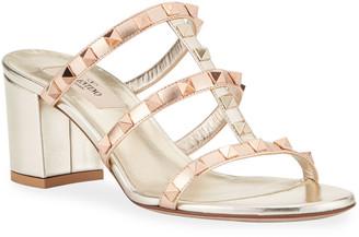 Valentino Rockstud Caged Leather Slide Sandals