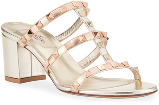 Valentino Garavani Rockstud Caged Leather Slide Sandals